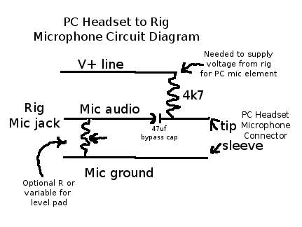 pc headset adapter for ham radio rh kingsqueak org ham radio microphone connections ham radio microphone wiring diagrams